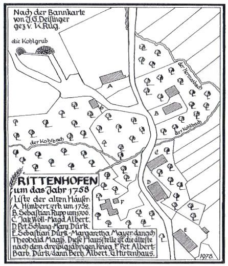 Katasterkarte von Rittenhofen um 1758